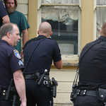 Mark McKenna/The Times-Standard Eureka Police Officers prepare to enter a house at 112 Del Norte during a search for Jay Xanadu Eddington. He was fleeing officers when he entered the house o ...