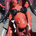 Shaun Walker/The Times-Standard  Eureka High EAST's Speed Demons sculpture scowls prior to start of the Kinetic Grand Championship in Arcata on Saturday.