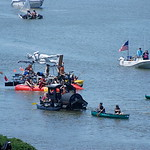 Jos� Quezada/For the Times-Standard  Chug-A-Lugg-A-Choo-Choo, piloted by Kevin Fischer, makes a break as it overtakes the Classical Nudes along the waterfront as they approached the Samoa B ...