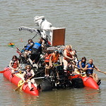 Jos� Quezada/For the Times-Standard  Katie Texas yells out steering commands as the ten-woman Classical Nudes machine adjusts it's direction before rolling out of the water at the Samoa Bri ...