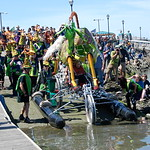 Jos� Quezada/For the Times-Standard  30-year kinetic racer June Moxon slips Glamorous Glady's into a sublime swim into the bay with a large crowd cheering wildly.  Kinetic machines headed t ...