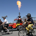 Shaun Walker/The Times-Standard  The Lost Coast Brewery Fire Department Hookah 'n' Ladder 420 fires it up at the start of the Kinetic Grand Championship in Arcata on Saturday.
