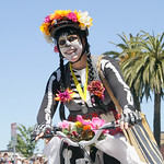 Shaun Walker/The Times-Standard  Natalie Arroyo of Dia de los Tacos get ready for the start of the Kinetic Grand Championship in Arcata on Saturday.